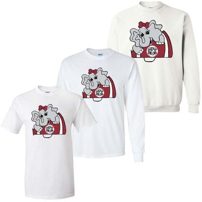 Girls Monogrammed Elephant Graphic Tee Shirt