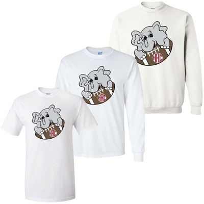 Boys Monogrammed Elephant With Football Graphic Tee Shirt