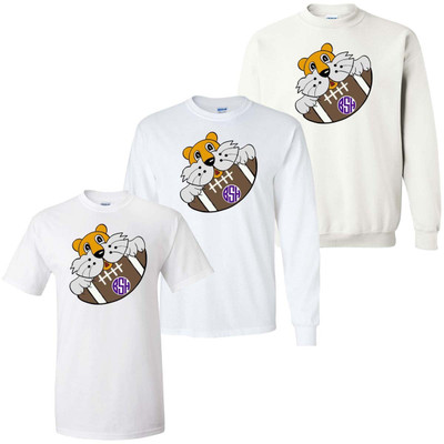 Boys Monogrammed Tiger With Football Graphic Tee Shirt - Purple And Gold