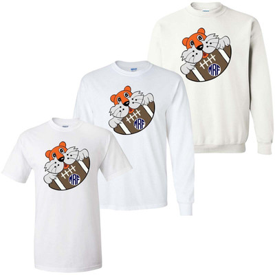 Boys Monogrammed Tiger With Football Graphic Tee Shirt - Orange And Blue