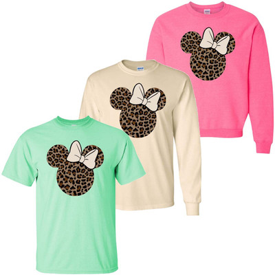 Leopard Mouse Head Graphic Tee Shirt