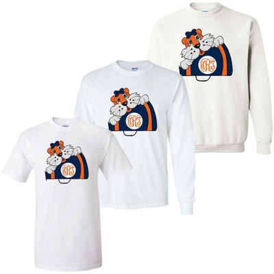 Girls Monogrammed Tiger With Megaphone Graphic Tee Shirt - Orange And Blue