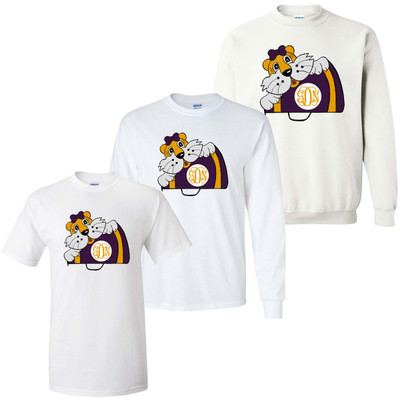 Girls Monogrammed Tiger With Megaphone Graphic Tee Shirt - Purple And Gold