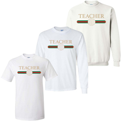 Monogrammed Teacher Designer Graphic Tee Shirt