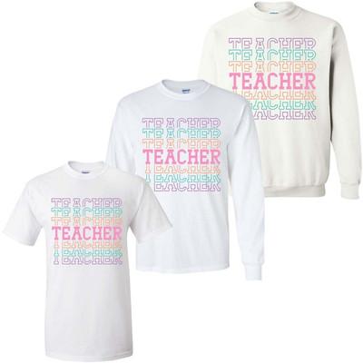 Stacked Teacher Graphic Tee Shirt