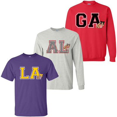 Customized State Initials With Football Graphic Tee Shirt