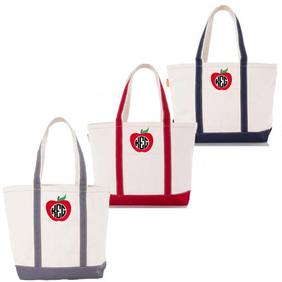 Monogrammed Apple Canvas Large Boat Tote