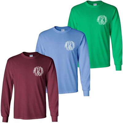 Monogrammed Football Long Sleeve Tee Shirt