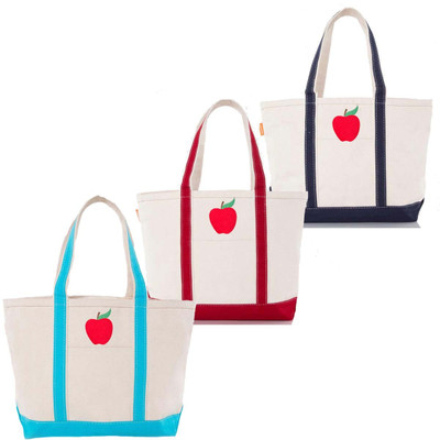 Embroidered Apple Canvas Large Boat Tote
