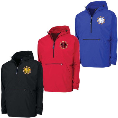 Monogrammed Embroidered Football Circle Charles River Pack N Go Pullover