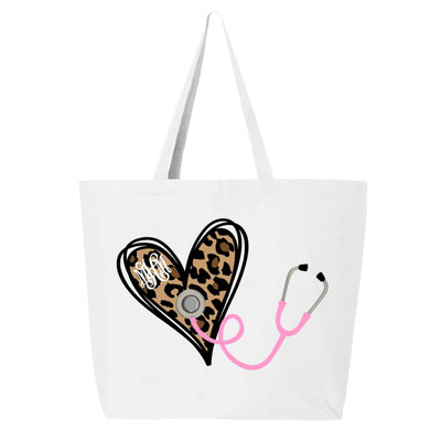Monogrammed Leopard Heart Stethoscope Tote Bag - White