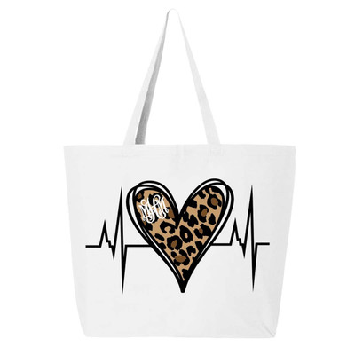 Monogrammed Leopard Heartbeat Nurse Tote Bag - White