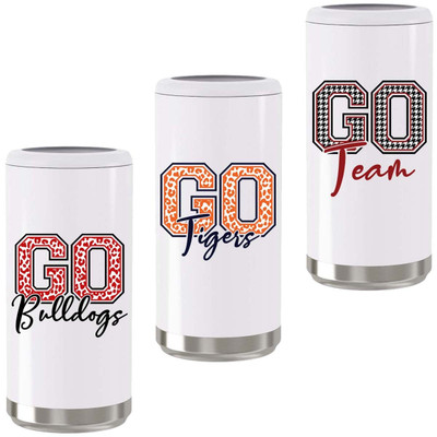Customized Leopard Go Team Stainless Steel Skinny Can Cooler