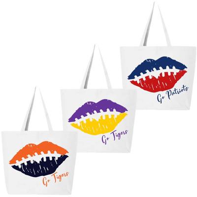 Customized Football Lips Tote Bag