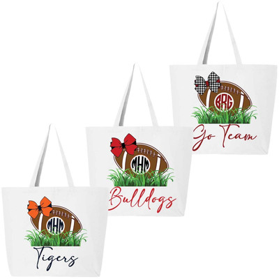 Customized Football In Grass Tote Bag