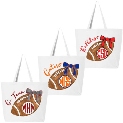 Monogrammed Football With Bow Tote Bag