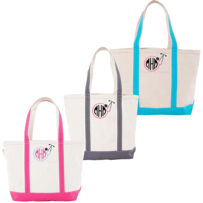 Monogrammed Embroidered Stethoscope Canvas Large Boat Tote