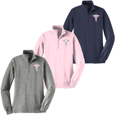 Monogrammed Embroidered Medical Caduceus 1/4 Zip Pullover