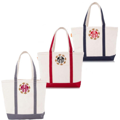 Monogrammed Embroidered Football Circle Canvas Large Boat Tote