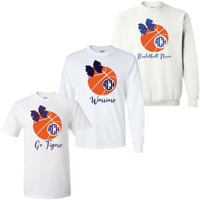 Monogrammed Basketball With Bow Graphic Tee Shirt