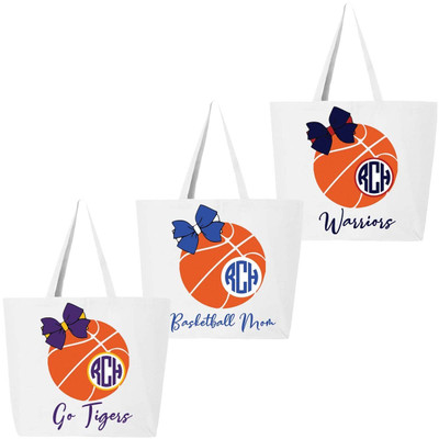 Monogrammed Basketball With Bow Tote Bag