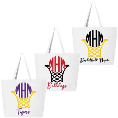 Monogrammed Basketball Net Tote Bag