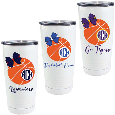 Monogrammed Basketball With Bow Stainless Steel Tumbler