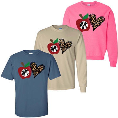 Monogrammed Apple And Leopard Heart Graphic Tee Shirt