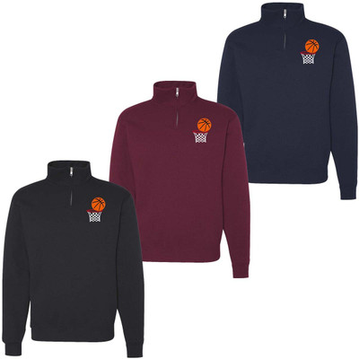 Embroidered Basketball With Net Quarter Zip Pullover