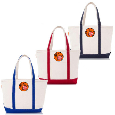 Monogrammed Embroidered Basketball Canvas Large Boat Tote