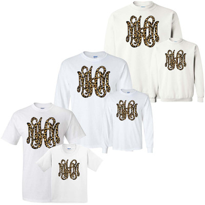 Mommy And Me Leopard Monogram Shirt