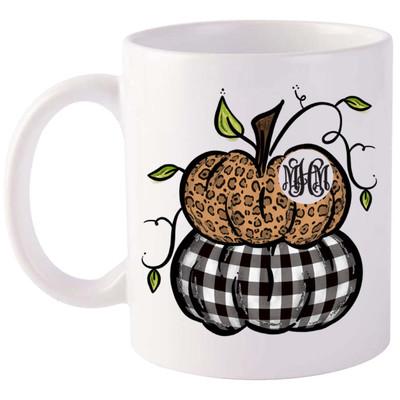 Monogrammed Stacked Pumpkins Coffee Mug