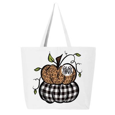 Monogrammed Stacked Pumpkins Tote Bag
