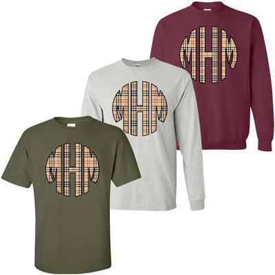 Monogrammed Plaid Graphic Tee Shirt
