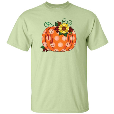 Polka Dot Pumpkin With Sunflower Graphic Tee Shirt