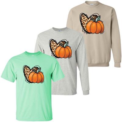 Pumpkin With Leopard Heart Graphic Shirt