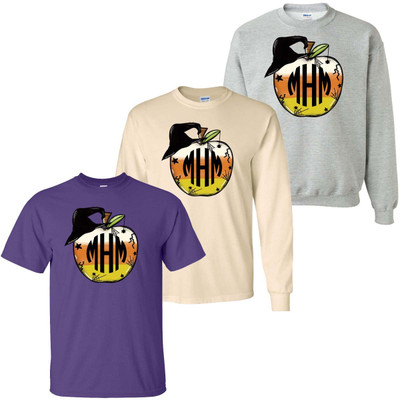Monogrammed Candy Corn Apple Graphic Tee Shirt