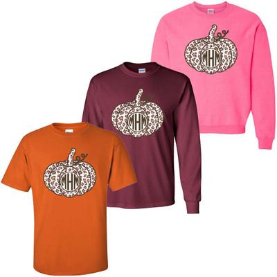 Monogrammed Leopard Pumpkin Graphic Shirt