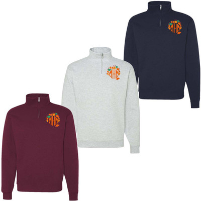 Monogrammed Embroidered Fall Wreath Quarter Zip