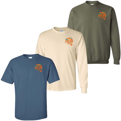 Monogrammed Embroidered Fall Wreath Shirt