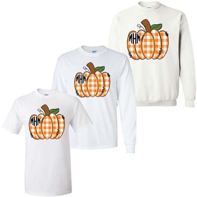Monogrammed Orange Gingham Pumpkin Graphic Tee Shirt