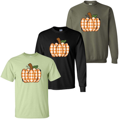 Orange Gingham Pumpkin Shirt