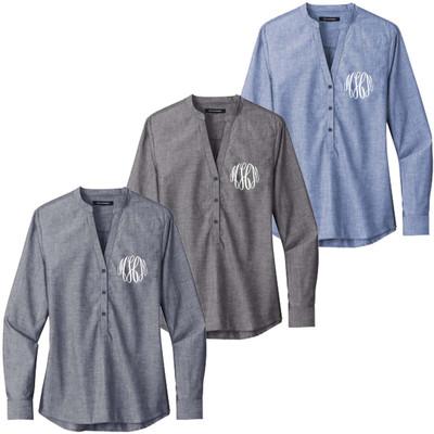 Monogrammed Ladies Chambray Long Sleeve Shirt
