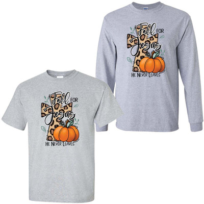 Fall For Jesus He Never Leaves Graphic Shirt - Sport Gray