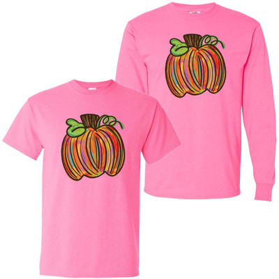Colorful Pumpkin Graphic Shirt - Safety Pink