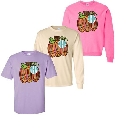 Monogrammed Colorful Pumpkin Graphic Shirt