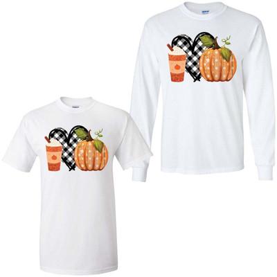 Plaid Heart With Pumpkin Graphic Shirt - White