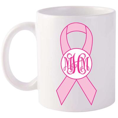 Monogrammed Breast Cancer Ribbon Coffee Mug