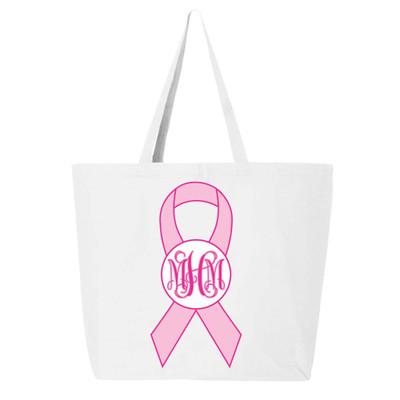Monogrammed Breast Cancer Ribbon Tote Bag