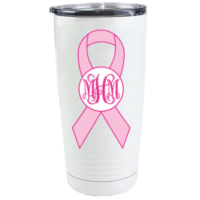 Monogrammed Breast Cancer Ribbon Stainless Steel Tumbler
